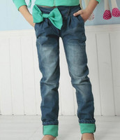 2016 New Design Children Bow Jeans Girls Medium Washing Casual Long Jeans Wholesale Kids Clothing PT81129-42
