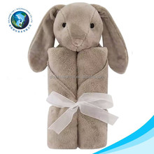 European standard children animal head blanket custom Easter day gift 100% cotton soft plush grey bunny baby muslin blanket