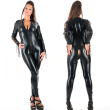 Wholesale Long Sleeve Black Front Zipper Women PVC Catsuit