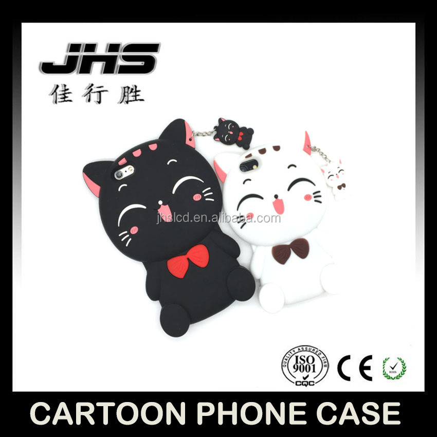 Hot selling 3D cartoon phone case black and white hello Kiki silicone mobile phone case for Iphone 5/6/7