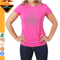 Hot Sales Rhinestone Women 50% Cotton 50% Polyester T-shirts