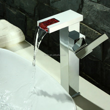 Hydraulic Powered Square Brass LED Waterfall Basin Faucet