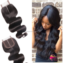 100% virgin brazilian hair lace top closure with middle part silk base lace frontal closure