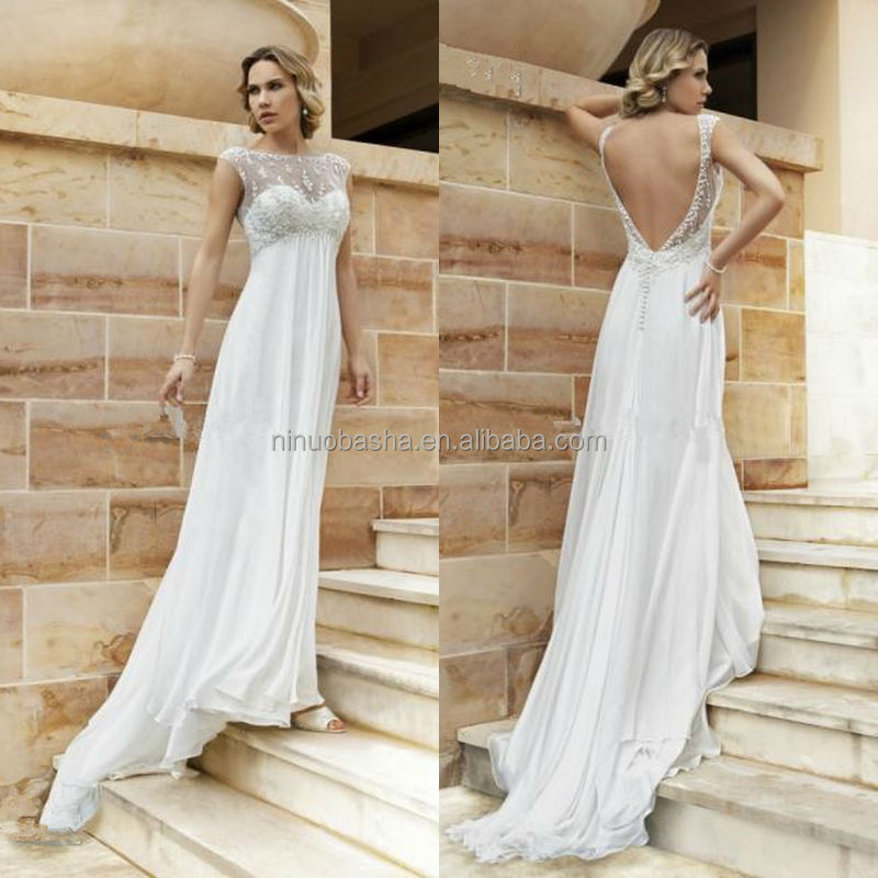 Sexy Chiffon Empire Wedding Dress 2014 Hot Sale Jewel Neck Cap Sleeve Backless Long Beach Bridal Gown With Lace Applique NB0807