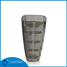 China Beautiful 24cm tall grid square gray glass vase for flower arrangements