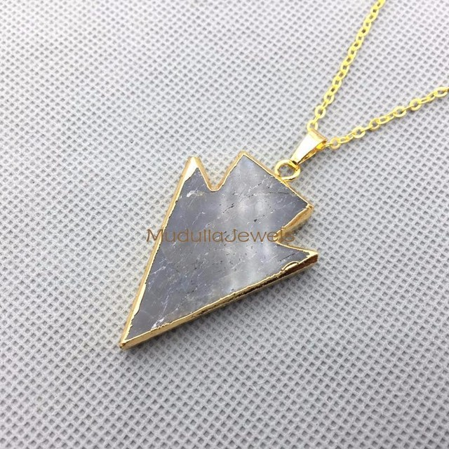PM4390 Hign Quality Gold Plated Labrodorite Indian Arrowhead Pendant Necklace Gold Plated Trim Chain Necklace In 41*30mm