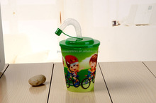 12 OZ children 3D Lenticular plastic cups with straw