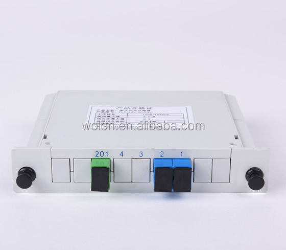 Factory supply 1x2 SC FC PC UPC APC cassette type FTTH fiber optic PLC splitter