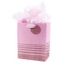 Best quality reusable gift price custom pink design luxury printed paper bag cloth shopping spring flowers leaves pink paper bag