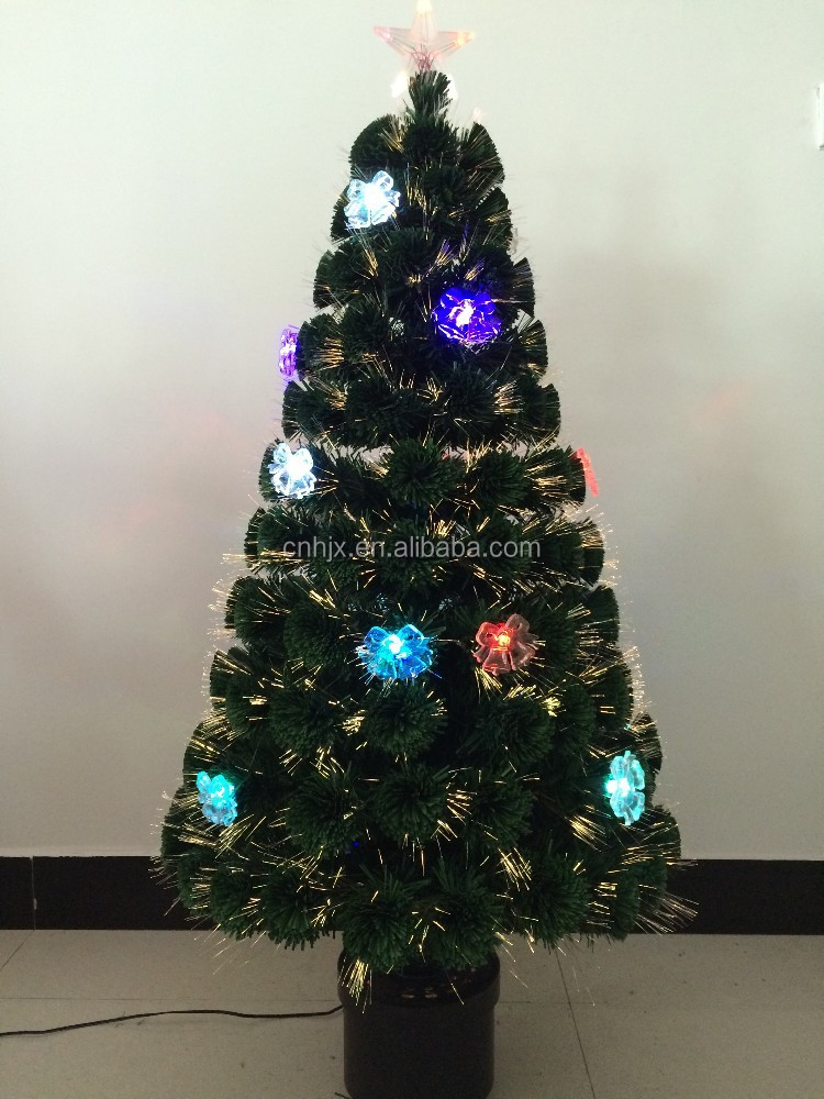 PVC Decorating Linghting Bell Shape Lights Fiber Optic Christmas Tree, Colourful Balls Xmas Tree