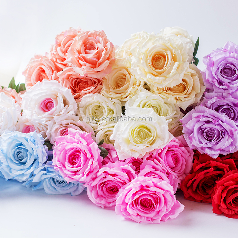 cheap wholesale 7 heads artificial silk fabric rose flowers