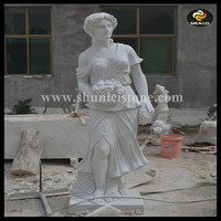 European style large lady natural white marble statue