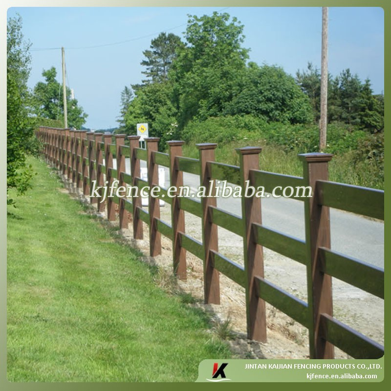 3 Rail wood grain brown color pvc horse fence(KJA-02-Brown)