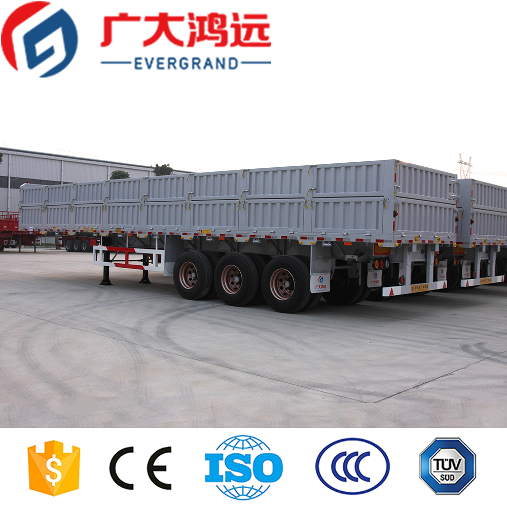 EVERGRAND steel material CE ISO used tri-axle semi trailer cargo truck trailer for sale