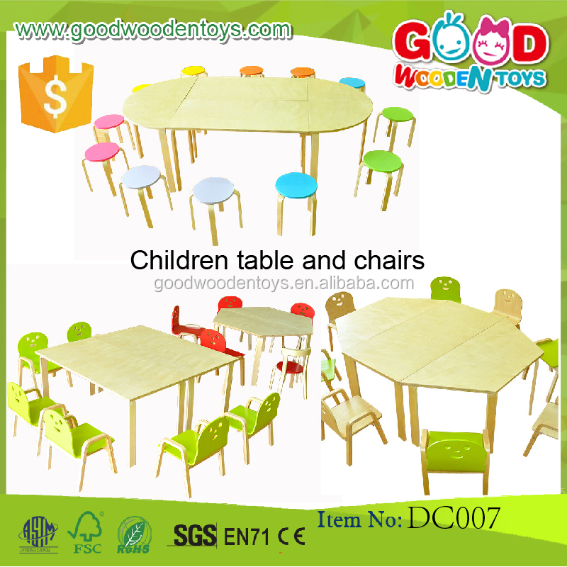 New Design Plywood Material Kindergarten Table and Chairs Set Educational Children Study Wood Kids Furniture