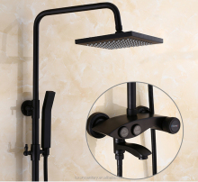 New style black color press buttom bathroom shower sets sanitary ware