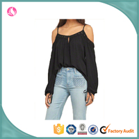 fashion cutting sexy black backless blouse hot camisole blouse fashion 2016