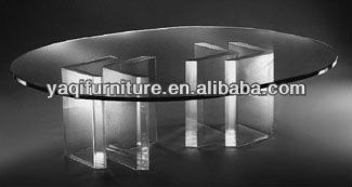 Acrylic Table with elliptic glass top