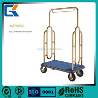 5 star Hotel brass Luggage trolley/hand luggage cart
