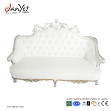 Factory direct commercial wedding party event sliver white two seater sofa