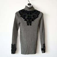Unique Design Floral Women Pullover Sweater