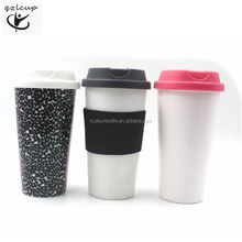 16oz plastic reusable coffee cup with silicone sleeve and lid,keep cup coffee mug