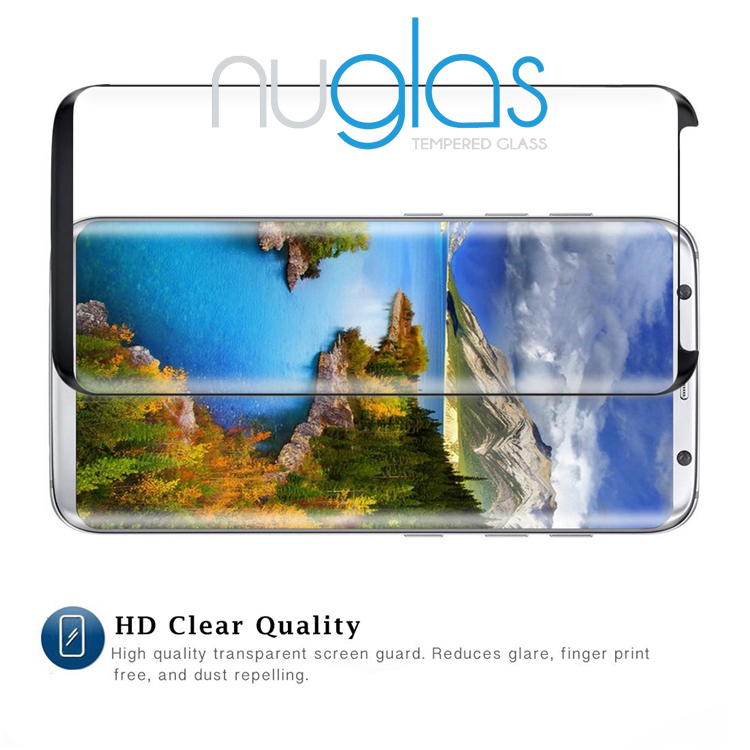 Nuglas 3D hot bending edge Full Screen Cover For Samsung Galaxy S8 Plus glass tempered screen protector in stock