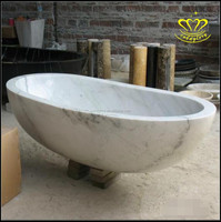 European style villa home decoration natural white marble bathtub