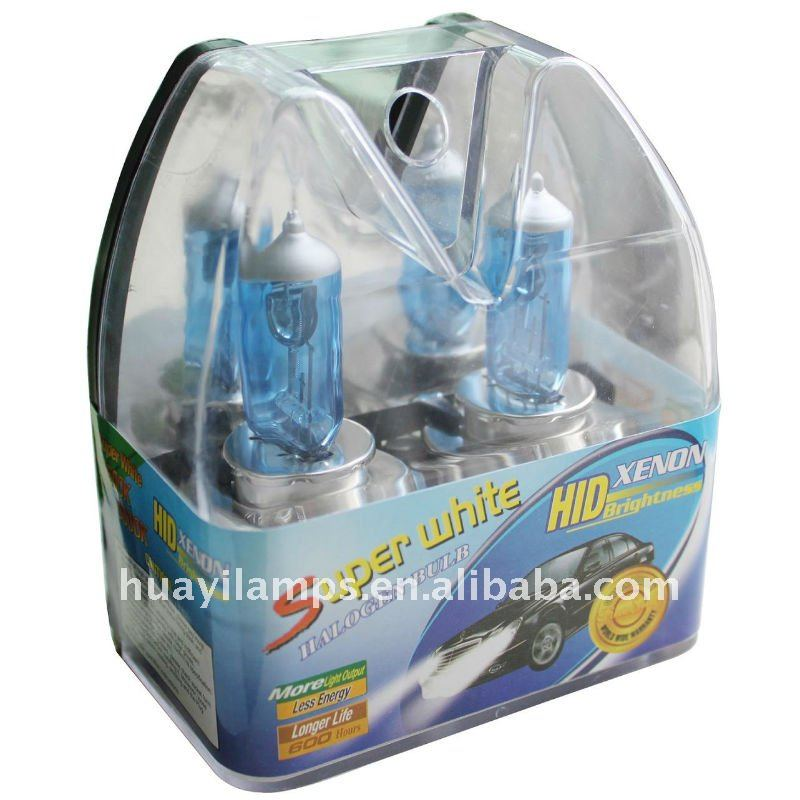 Super white car lamp H4 plastic box packing, auto bulb, xenon bulb