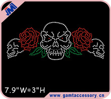 Skull with Rose Custom Iron-on Rhinestone Transfers for T-shirts Wholesale
