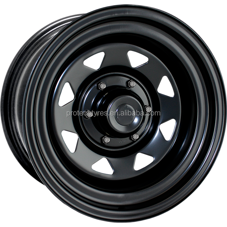 15X8 SUNRAYSIA 6 STUD BALCK STEEL WHEEL O OFFSET AUSTRALIA QUALITY 4WD STEEL WHEEL