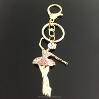 Jeweled Rhinestone Dancing Girl Shape Keychain Human Shape Key Chain Keyring