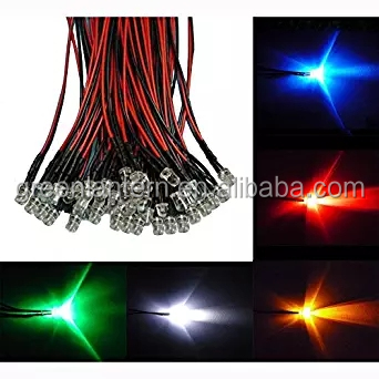 RGB LED Diodes 3mm Pre Wired F5 LED String Light Strip Lamp Bulb Diodes 20cm Colorful Flashing Lighting DC12V