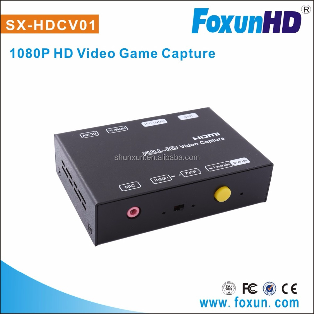 Foxun Newest SX-HDVC01 Support 1080p HDMI Video game capture via USB save live streaming hdmi video capture device