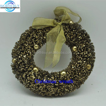 "6"" vintage golden bead & silk ribbon decorated indoor Christmas wreath"