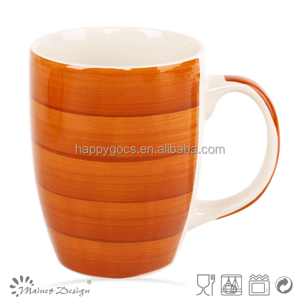 orange color ceramic mug bullet shape ceramic 10oz cup hand painted mug