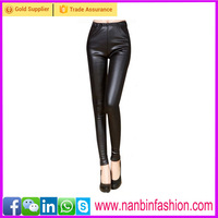 Black sexy tight slim young girls leather leggings high waist pants