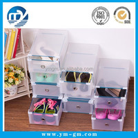 High quality big plastic high-heel storage shoe box with drawer