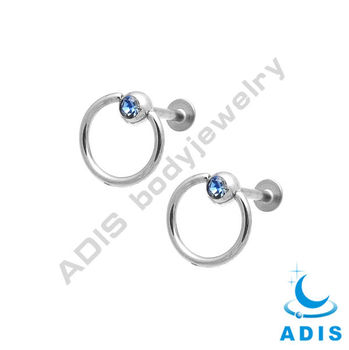 Labret Lip Chin Ring Bar Tragus Lip Bars With Jeweled BCR