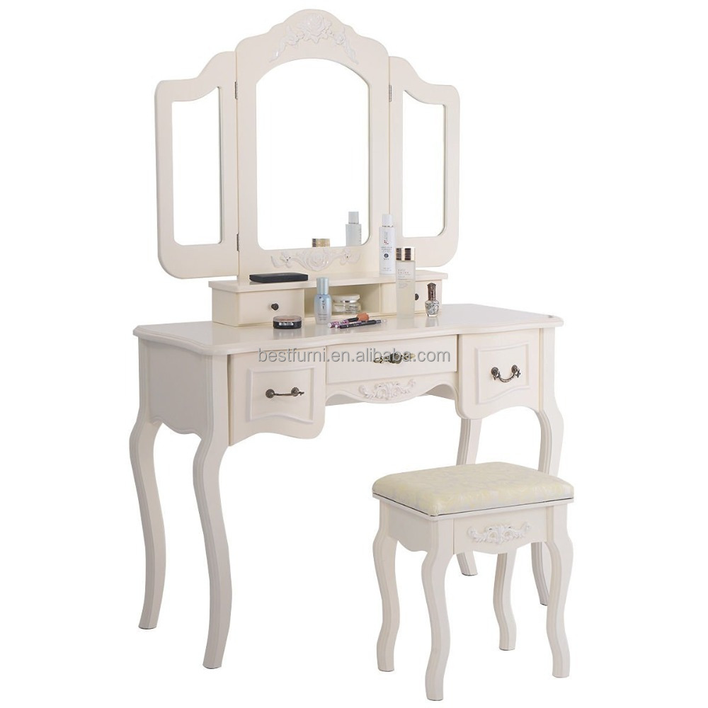 White Makeup Vanity Table Set with Bench mirror and Drawers
