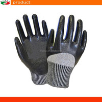 13G High Quality HPPE Liner Nitrile Foam Gloves Half Dipped Cut Level 5 Resistant Gloves Glass Fiber working Gloves