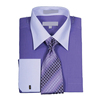 Men french cuff solid dress shirt with tie