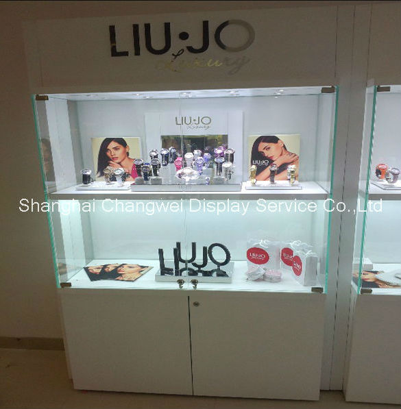 Large MDF display cabinet for watch , retail shelving for watch products , can be customized
