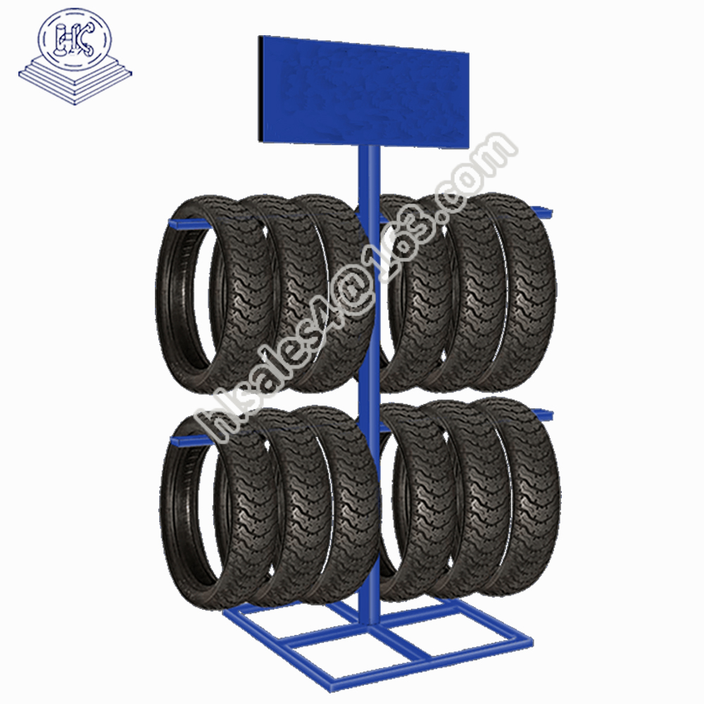 showroom use durable metal iron rolling tire rack with advertising