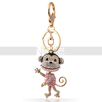 Fashion Jewelry Dancing Monkey Big Mouth A Crystal Pendant Monkey Keychain for Girls