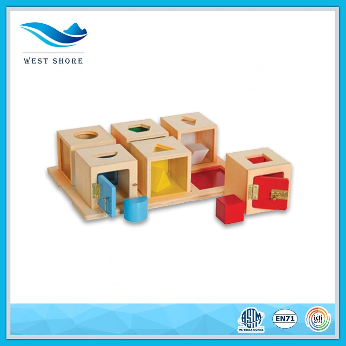 different shapes kindergarten wooden wholesale box toy