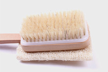 double side loofah and bristle long handle bath body brush