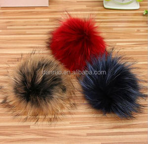 Factory Wholesale Colorful Real Raccoon Fluffy Fur Pom Poms / Balls