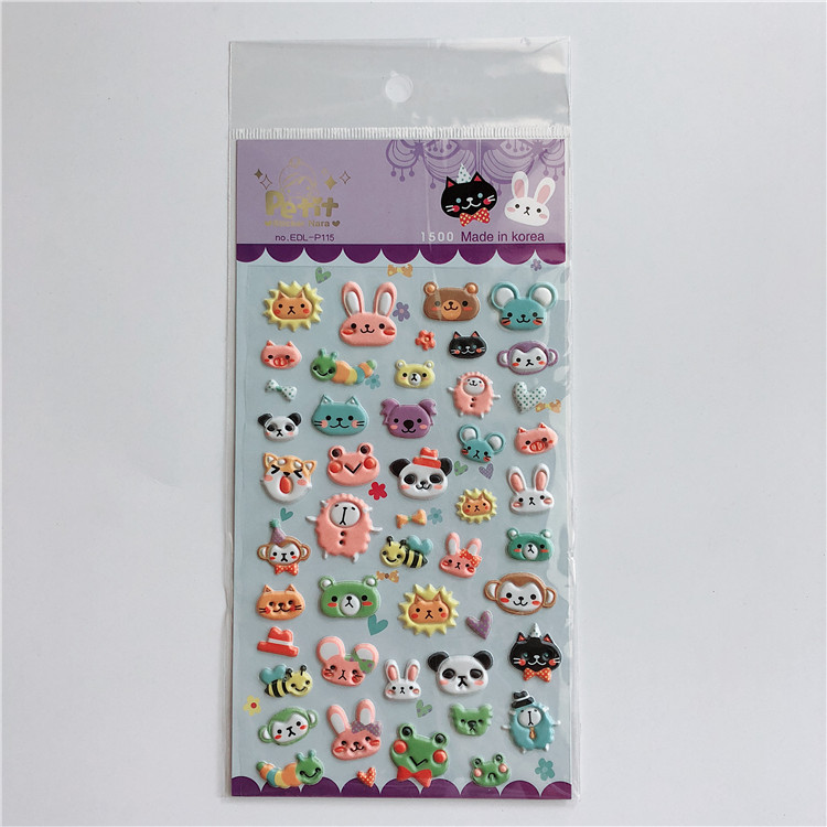 Fast Delivery Cartoon Animal Removable 3D Soft Custom PVC Foam Puffy Sticker