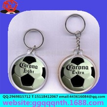 craft gift jewelry lovely plastic Acrylic transparent photo frame epoxy round football metal key chain